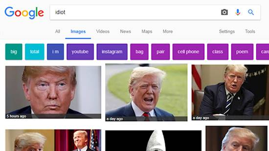 """President Trump comes on top for """"idiot"""" in Google image search"""